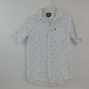 Men's Quiksilver White Button Up Shirt, Size Small
